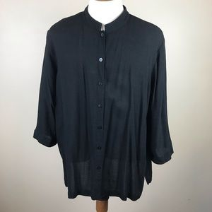 Eileen Fisher black linen button up
